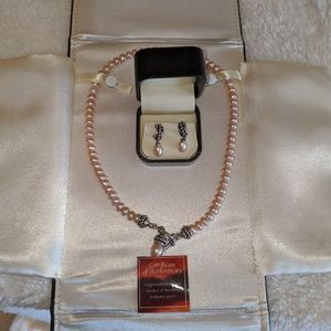 Mandarin Cultured Necklace and Earrings set